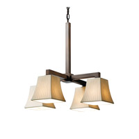 Limoges 4 Light Dark Bronze Chandelier Ceiling Light in Waterfall, Square Flared