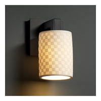 Limoges 1 Light 5 inch Matte Black Wall Sconce Wall Light in Checkerboard, Cylinder with Flat Rim