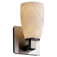 Justice Design POR-8921-28-BANL-NCKL Limoges Modular 1 Light 5 inch Brushed Nickel Wall Sconce Wall Light in Banana Leaf Tall Tapered Cylinder