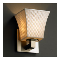 Limoges 1 Light 6 inch Brushed Nickel Wall Sconce Wall Light in Checkerboard, Square Flared