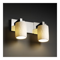 Limoges 2 Light 15 inch Polished Chrome Bath Bar Wall Light in Bamboo, Cylinder with Flat Rim