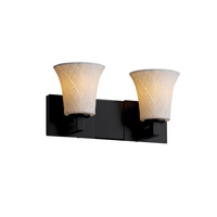 Limoges 2 Light 15 inch Matte Black Bath Bar Wall Light in Banana Leaf, Round Flared
