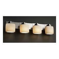 Justice Design Limoges Modular 4-Light Bath Bar in Brushed Nickel POR-8924-30-CHKR-NCKL