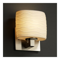 Justice Design POR-8931-30-WAVE-NCKL Limoges 1 Light 7 inch Brushed Nickel ADA Wall Sconce Wall Light in Waves photo thumbnail