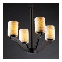 Justice Design Limoges Bend 4-Light Chandelier in Dark Bronze POR-8970-10-WAVE-DBRZ