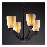 Justice Design Limoges Bend 4-Light Chandelier in Dark Bronze POR-8970-18-WFAL-DBRZ
