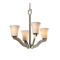 Justice Design Limoges Bend 4-Light Chandelier in Brushed Nickel POR-8970-20-WAVE-NCKL