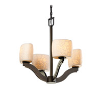 Justice Design Limoges Bend 4-Light Chandelier in Dark Bronze POR-8970-30-LEAF-DBRZ