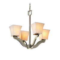 Justice Design Limoges Bend 4-Light Chandelier in Brushed Nickel POR-8970-40-WFAL-NCKL