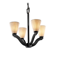 Justice Design Limoges Bend 4-Light Chandelier in Matte Black POR-8970-50-PLET-MBLK