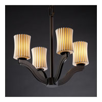 Justice Design Limoges Bend 4-Light Chandelier in Dark Bronze POR-8970-60-PLET-DBRZ