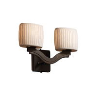 Justice Design Limoges Bend 2-Light Wall Sconce (Style 2) in Dark Bronze POR-8975-30-WFAL-DBRZ