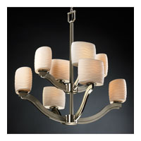 Justice Design Limoges Bend 8-Light 2-Tier Chandelier in Brushed Nickel POR-8978-30-WAVE-NCKL