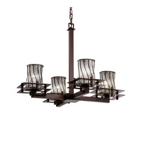 Justice Design WGL-8100-10-SWCB-DBRZ-LED4-2800 Wire Glass LED 25 inch Dark Bronze Chandelier Ceiling Light, Metropolis