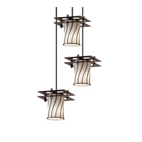 Justice Design Metropolis 3 Light Pendant in Dark Bronze WGL-8166-10-SWOP-DBRZ-BKCD