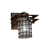 Metropolis 1 Light 7 inch Dark Bronze Wall Sconce Wall Light in Grid with Clear Bubbles, Cylinder with Flat Rim
