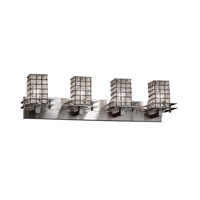 Metropolis 4 Light 37 inch Brushed Nickel Vanity Light Wall Light in 9.25, Grid with Clear Bubbles, Square with Flat Rim