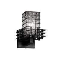 Justice Design Metropolis 1 Light Wall Sconce in Matte Black WGL-8175-15-GRCB-MBLK