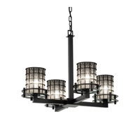 Justice Design Circa 4 Light Chandelier in Matte Black WGL-8200-10-GRCB-MBLK