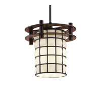 Circa 1 Light 7 inch Dark Bronze Pendant Ceiling Light in Grid with Opal, Black Cord