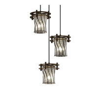 Circa 3 Light 7 inch Dark Bronze Pendant Ceiling Light in Swirl with Clear Bubbles