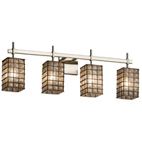 Wire Glass 4 Light 31 inch Brushed Nickel Vanity Light Wall Light in Grid with Clear Bubbles, Square with Flat Rim, Fluorescent