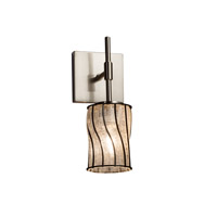 Wire Glass 1 Light 5 inch Brushed Nickel Wall Sconce Wall Light in Swirl with Clear Bubbles, Cylinder with Flat Rim, Fluorescent