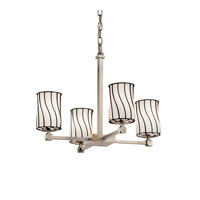 Wire Glass 5 Light 21 inch Brushed Nickel Chandelier Ceiling Light in Swirl with Opal, Cylinder with Flat Rim, Fluorescent