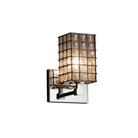 Wire Glass 1 Light 6 inch Polished Chrome Wall Sconce Wall Light in Grid with Clear Bubbles, Square with Flat Rim, Fluorescent
