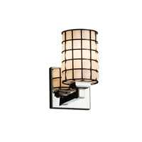 Wire Glass 1 Light 5 inch Polished Chrome Wall Sconce Wall Light in Grid with Opal, Cylinder with Flat Rim, Fluorescent