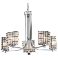 Justice Design WGL-8440-30-GRCB-CROM Wire Glass 5 Light 27 inch Polished Chrome Chandelier Ceiling Light in Grid with Clear Bubbles Oval