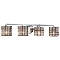 Justice Design WGL-8464-15-GRCB-CROM Wire Glass 4 Light 34 inch Polished Chrome Bath Bar Wall Light in Grid with Clear Bubbles, Square with Flat Rim, Incandescent