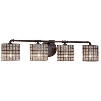 Justice Design WGL-8464-30-GRCB-DBRZ Wire Glass 4 Light 36 inch Dark Bronze Bath Bar Wall Light in Grid with Clear Bubbles Oval Incandescent