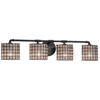 Justice Design WGL-8464-30-GRCB-MBLK Wire Glass 4 Light 36 inch Matte Black Bath Bar Wall Light in Grid with Clear Bubbles Oval Incandescent