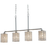 Justice Design WGL-8465-15-GRCB-NCKL Wire Glass Bronx 4 Light 5 inch Brushed Nickel Chandelier Ceiling Light