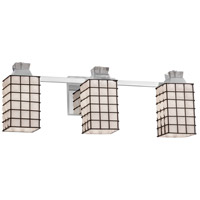 Justice Design WGL-8473-15-GRCB-DBRZ Wire Glass 3 Light 23 inch Dark Bronze Bath Bar Wall Light in Grid with Clear Bubbles, Square with Flat Rim, Incandescent
