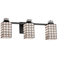 Justice Design WGL-8473-15-GROP-MBLK Wire Glass 3 Light 23 inch Matte Black Bath Bar Wall Light in Grid with Opal Square with Flat Rim Incandescent
