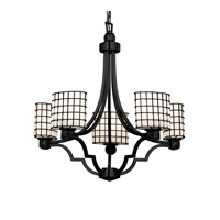 Wire Glass 5 Light 28 inch Dark Bronze Chandelier Ceiling Light in Grid with Opal, Oval