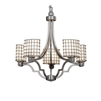 Justice Design WGL-8500-30-GROP-NCKL Wire Glass 5 Light 28 inch Brushed Nickel Chandelier Ceiling Light in Grid with Opal, Oval photo thumbnail