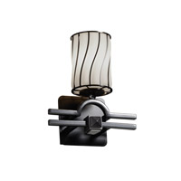 Wire Glass 1 Light 9 inch Matte Black Wall Sconce Wall Light in Swirl with Opal, Cylinder with Flat Rim