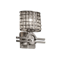 Wire Glass 1 Light 9 inch Brushed Nickel Wall Sconce Wall Light in Grid with Clear Bubbles, Oval