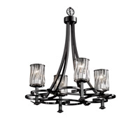 Justice Design Wire Glass Arcadia 4-Uplight Chandelier in Matte Black WGL-8560-10-SWCB-MBLK