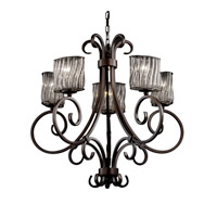 Justice Design Wire Glass Victoria 5-Uplight Chandelier in Dark Bronze WGL-8570-30-SWCB-DBRZ