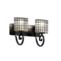 Justice Design WGL-8572-30-GRCB-MBLK Wire Glass 2 Light 17 inch Matte Black Bath Bar Wall Light in Grid with Clear Bubbles, Oval photo thumbnail
