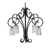 Justice Design Wire Glass Victoria 5-Downlight Chandelier in Matte Black WGL-8575-10-GROP-MBLK photo thumbnail