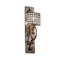 Justice Design Wire Glass Victoria 1-Light Wall Sconce (Tall) in Antique Brass WGL-8579-30-GRCB-ABRS