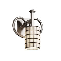 Justice Design Wire Glass Heritage 1-Light Wall Sconce in Brushed Nickel WGL-8581-10-GROP-NCKL