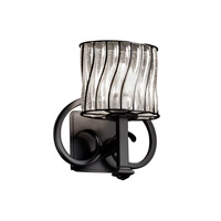 Justice Design Wire Glass Heritage 1-Light Wall Sconce in Matte Black WGL-8581-30-SWCB-MBLK