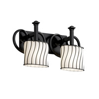 Justice Design Wire Glass Heritage 2-Light Bath Bar in Matte Black WGL-8582-30-SWOP-MBLK