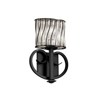Justice Design WGL-8587-30-SWCB-MBLK Heritage 1 Light 9 inch Matte Black ADA Wall Sconce Wall Light in Swirl with Clear Bubbles photo thumbnail
